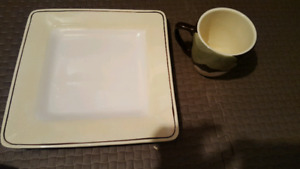 12 large dinner plates and 6 matching mugs