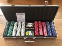 Poker Chips in tough metal case plus dice and cards - hardly used
