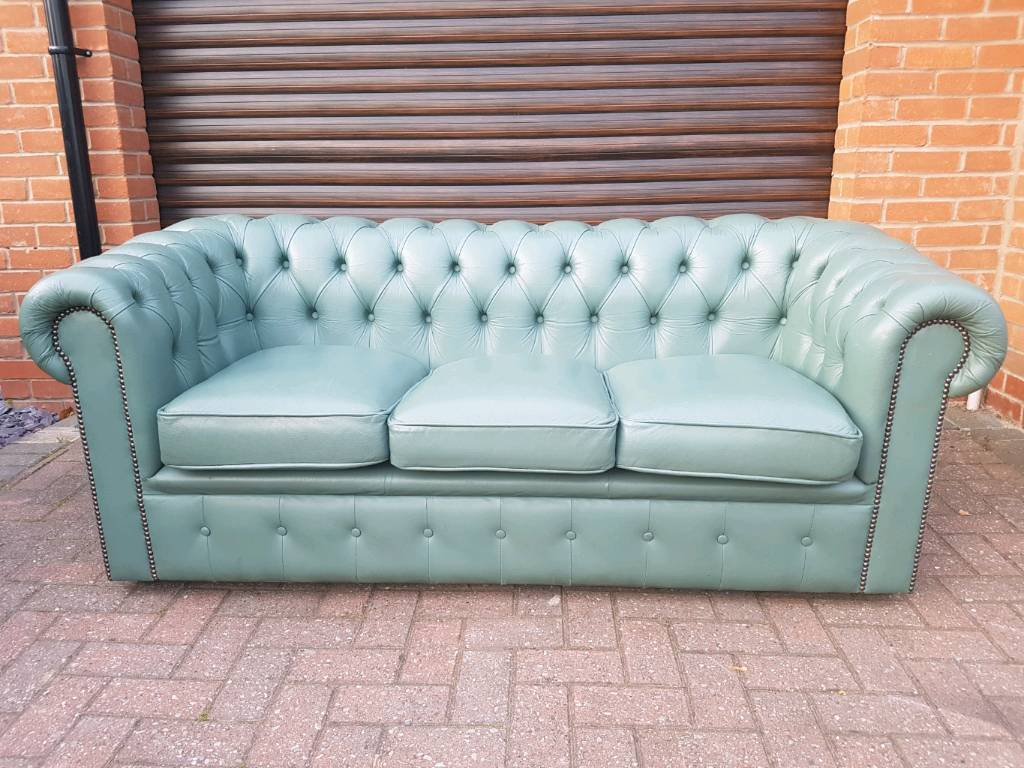 Duck Egg Blue Leather Sofa Brokeasshome Com
