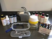 Air Brush Kit for cakes with loads of edible inks and cleaning bowl