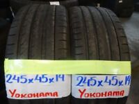MATCHING PAIR OF 225 45 19 YOKOHAMAS 6mm TREAD £90 PAIR SUP & fittd 7dys (PUNCTURES £8 TAXIS £5)