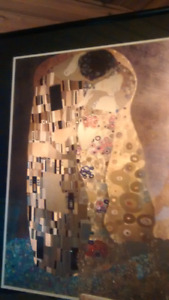 Picture with gold foil print of the kiss from Gustav Klimt