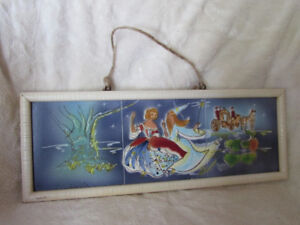 Vintage Hand Painted Fairy Tale Tile Hanging