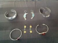 Sterling silver bangles and earrings