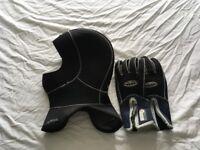Waterproof neoprene hood and gloves