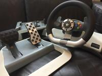 Microsoft Xbox 360 and pc wireless steering wheel with force feedback