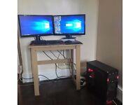 AMD Gaming Computer MSI R7 370 4GB + 2 Monitors.