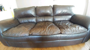 Coffee colored leather couch (1 for $500 or 2 for $900)