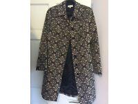John Rocha designer black and pink art nouveau designer coat worn once-size 10