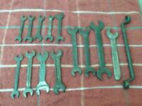 whitworth spanners x 14 1/4 to 1/2