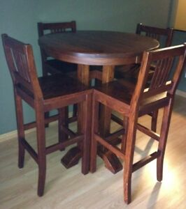 Pub Style Dining Table & Four Matching Chairs