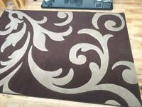 Brown and cream rug large size