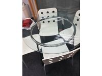 Glass Office Table Set with 4 x White Chairs