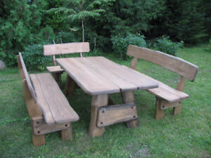 NEW! Oak wood dining table and bench sets for sale!
