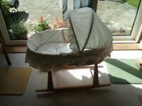 Moses basket with ECO Baby Rocking Stand with mattress/covers in good condition from smoke free home