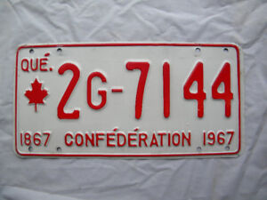 1967 Quebec Confederation License Plate