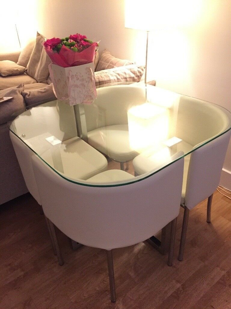 Stylish Space Saving Glass Table With Four Comfortable
