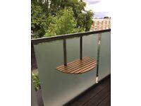 Solid oak & stainless steel balcony table