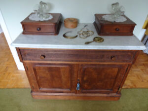Antique Marble Top Dresser & Night Table - also Four Poster Bed