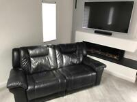Three seater large leather recliner suite (Black) 2 available