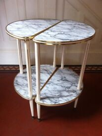 Pair of Moon Shaped Retro Coffee Occasional Tables with Dansette Legs / Can Deliver