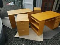 Superb Quality Pair Of Desks With Two Matching Filing Cabinets
