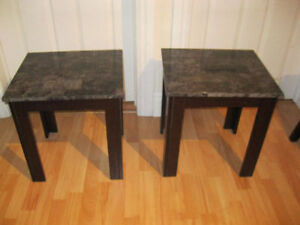 PRICE DROP 2 Beautiful marble top end tables great shape .