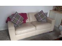 M&S Cream Leather Sofa