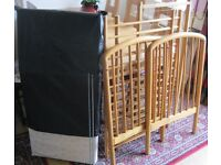 Wooden Frame Baby Cot and wood frame wire base.