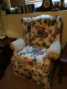 High quality wing back chair.