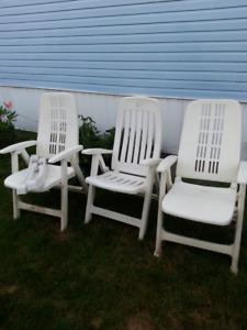3 HD ADJUSTABLE & FOLDUP HIGHBACK wht YAWN patio CHAIRS