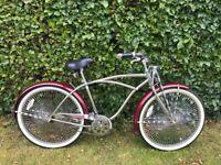 Beach Cruiser - retro style chrome/red single speed bike