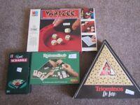 Travel Scrabble, Rummikub, Trionimos, Yahtzee - boxed games £1 each