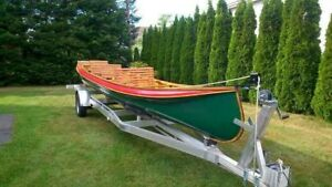 26' Hand crafted Canoe with motor and trailer