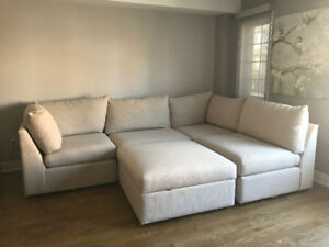 Basset Furniture Sectional L shape couch (with ottoman )