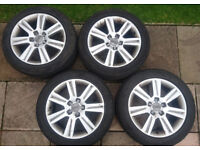 """Genuine Audi A4(b8) 17"""" alloy wheels and tyres"""