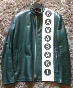 Kawasaki Euro Style Green Leather Jacket Circa 1975 76 1978