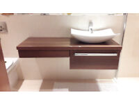 Bathroom vanity unit, tap and sink