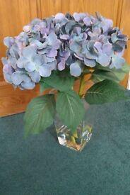 Hydrangeas Faux Flowers in Glass Vase