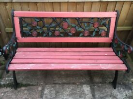 Cast Iron and Wood Garden Bench x 2