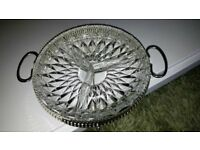 """CUT GLASS 3 COMPARTMENT LAZY SUSAN WITH REMOVEABLE HANDLE STAND 8"""" DIAMETER"""