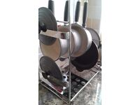 3 pc pan set plus stand grey le creuset great cond