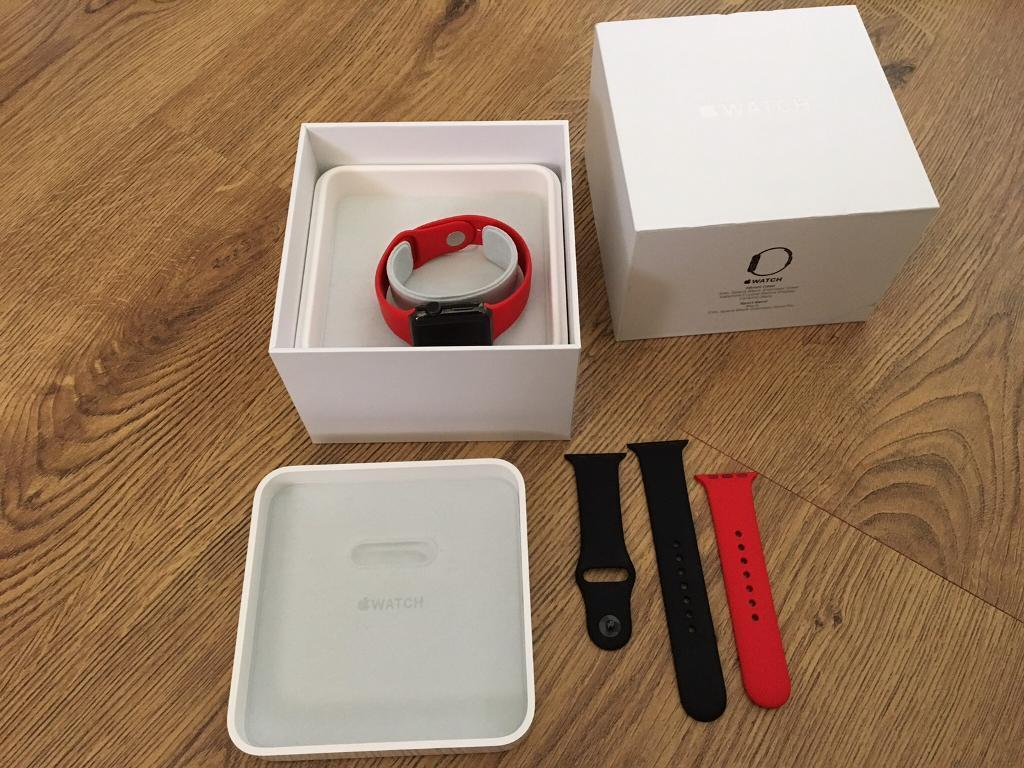 Apple Watch 38mm stainless steel space blackin Great Cambourne, CambridgeshireGumtree - Apple Watch 38mm stainless steel space black. 1 year old. Only used a few times. All boxed as new. Comes with black strap as well as red