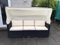 Deuba Poly Rattan Sofa Bench Day-Bed
