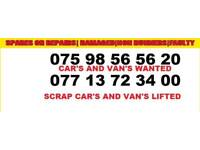 Vans and cars wanted for cash
