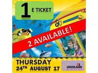 1 X LEGOLAND Windsor Tickets THURSDAY 24th AUGUST 17 - MANY TICKETS ! MANY DATES