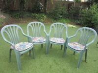 GREEN PLASTIC CHAIRS X 4 - PATIO GARDEN CHAIR WITH SEAT CUSHION