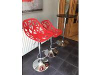 Red stool bar chairs and table