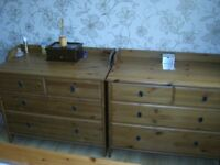 2 Chest of Bedroom Pine Drawers