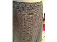 Khaki green and beige 100% cotton skirt 16